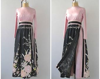 ALMOST A LEONARD Vintage 70s Jumpsuit   1970's Floral Appliqué Palazzo Pants  / Maxi Dress   Floral Sequin Detail   Disco, Cocktail   Medium