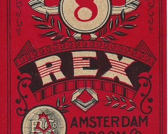 Vintage Amsterdam Broom Co. 8 Rex Lithograph Broom Label, 1920s