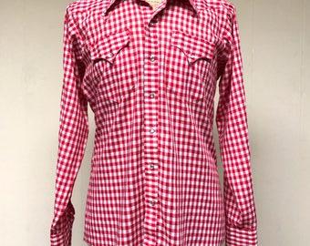 Vintage 1970s Shirt / 70s Mens Red Gingham Rockmount Ranch Wear Rockabilly Shirt / Large