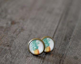 Clous d'oreilles - Studs - Ananas - Pineapple - Jaune - Blanc - Vert - Coco Matcha