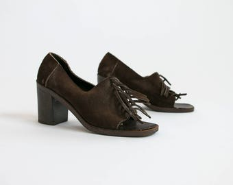 Vintage 1960's Brown Leather Fringe Slip On High Heels with Peep Toe/ Women's Retro / Fringe Leather Shoes/ Heels Women's Size 5 1/2 B Italy