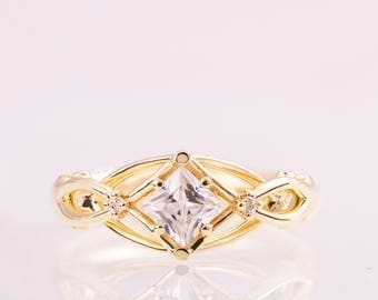 Celtic Engagement Ring, Princess Cut Diamond engagement ring, Square diamond ring, unique engagement ring, Knot ring, solitaire ring, ENG9