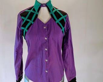 Purple & Teal Ladies Roughrider Western Shirt Top