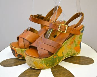 1970s Jute and Leather Wedge Sandals