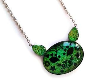 Sugar skull Cat Pendant, Cat head gem, Kitty necklace, Big jewel cat jewelry