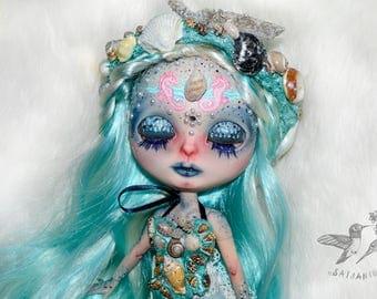 OOAK Blythe doll custom repaint faceup genuine takara artist fantasy mermaid - Seafoam