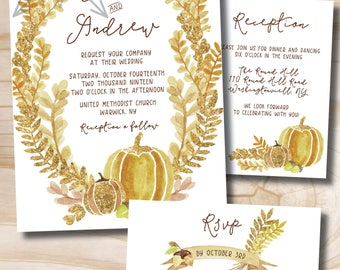 Watercolor Glitter Fall Pumpkin, Acorn &  Leaves Wedding Invitation and Response Card // Fall Wedding // Pumpkin Invitation // Gold Glitter