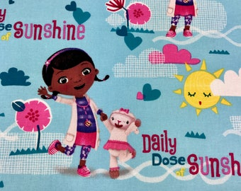 Doc McStuffins Disney Junior fabric, Kids fabric, 100% cotton fabric for Quilting and general sewing projects.