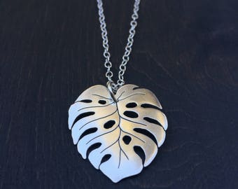 Monstera Deliciosa Sterling Silver Necklace Ritual Remains Leaf Pendant Leaves Plant Based Jewelry Gifts For Her Garden Witchy Gift Ideas