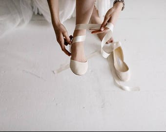The Wedding Ballet Flats With Satin Ribbons Shoes