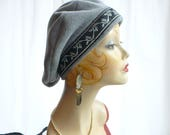 Gray Heather Beret with Silver Rosebud Trim