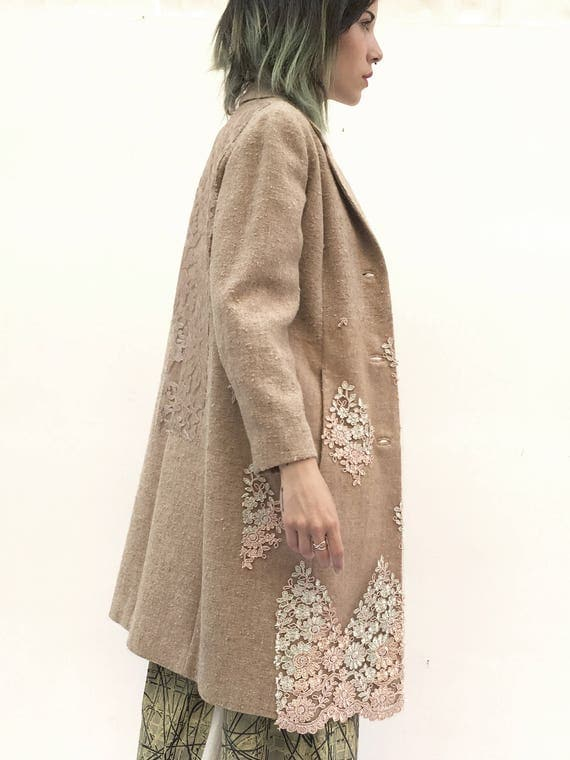 Overcoat Trench Wool Canvas and Lace Coat LOLA DARLING Woven Raw Canvas Made in Italy from Sixties Vintage Garment One-of-a-kind piece L