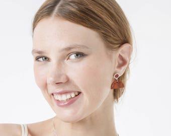 Dangle wood earrings, Boho long earrings, Elegant geometric earrings, Dainty unique earrings , Red earrings, Earrings for her, Elegant jewel