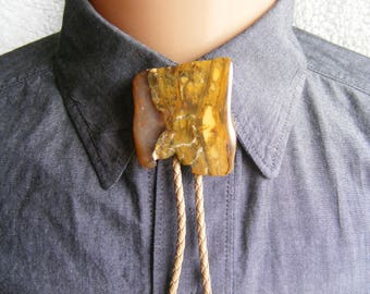 Bolo tie - western tie, brown white, unique