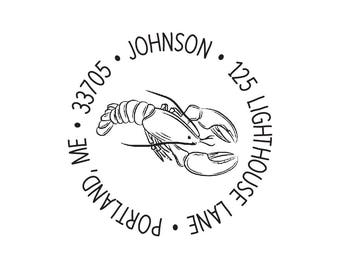 Personalized Custom Return Address Rubber Stamp or Self Inking Stamp Nautical Housewarming Gift New House Lobster