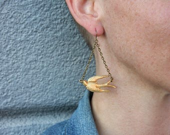 Take Off Flying Sparrow Earrings