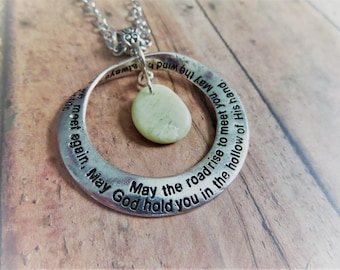 Mobius strip etsy scottish irish blessing necklace with iona marble and engraved hoop mobius strip pendant white mozeypictures Image collections