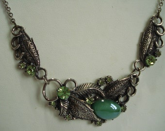 Vintage Necklace Dark Silver Tone And Green Rhinestones 1960's 70's