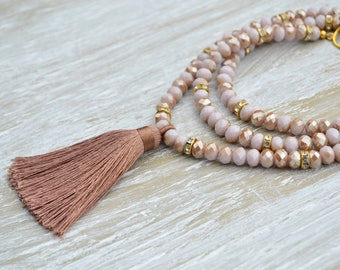 Crystal Tassel Necklace, Long Beaded Necklace, Brown Tassel Jewelry,Bohemian Jewelry, Boho Tassel Necklace