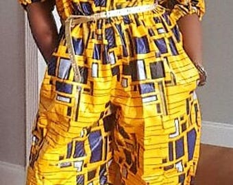 Gifty Ankara Jumpsuit African Print Cold Shoulder Wide  Leg with Pockets for Summer Fun Fourth of July Bridesmaids Holiday