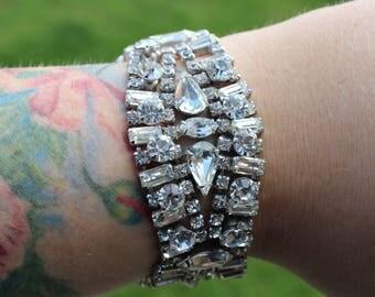Vintage Designer Rhinestone Bracelet Signed Volupte 1950s Glamour