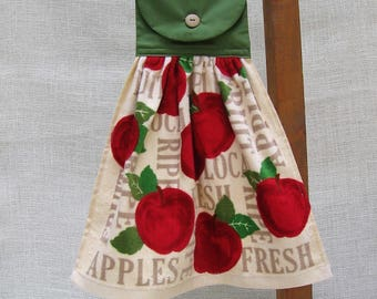 Apple Themed Kitchen Tea Towel, Hanging Kitchen Towel, Apple Kitchen Decor, Oven Towel, Kitchen Towels, Hand Towel, Red & Green