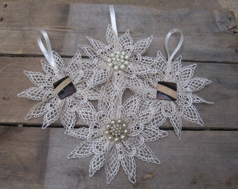 Beige Lace Snowflake, You Pick Center, Cottage Chic Christmas Tree Ornament, Beige Winter Snowflake, Tree Decoration