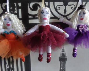 Handmade Ballerina Ornament with orange, burgundy or purple dress by Pepperland