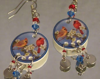 Cardinal Mates dangle Earrings - Colorful Photo Jewelry - chandelier earrings - bird Jewellery