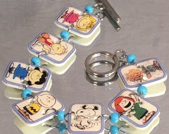 Charlie Brown Peanuts Character Bracelet - Snoopy Jewelry - Nostalgic Cartoon Jewellery