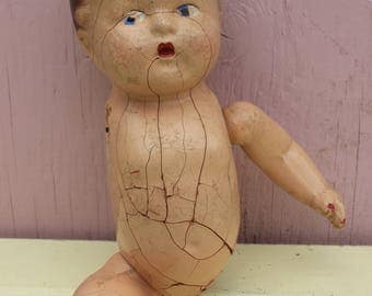 Vintage Spooky, Halloween,  Composition Doll, Creepy, Crackled and Worn, Head, Torso and Two Limbs, WOL