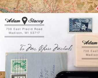 Personalized Address Stamp - Custom Address Stamp - Location Icon - Heart - Modern - Couple Stamp - DIY Printing - Housewarming - Gift Ideas