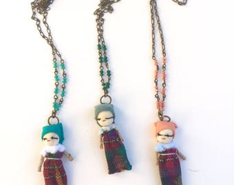 Worry dolls, tiny doll pendant necklace, colorful mix-media pendant, brass chain,handmade crystal beaded chain,charm necklace. With
