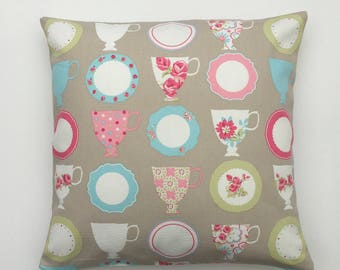 Cushion Cover, English Teacups Pillow Cover, Taupe pillow sham, cottage chic, Teacups Pillow Cover Teacups Print on Both Sides, SIZE OPTIONS