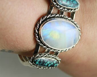 Sterling Silver Moonstone and Turquoise