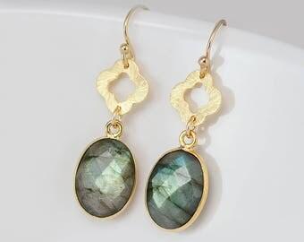Labradorite Earrings - Gold Dangle Earrings - Four Leaf Clover - Lucky Clover Earrings - Gold Framed Earrings - Gold Drop Earrings
