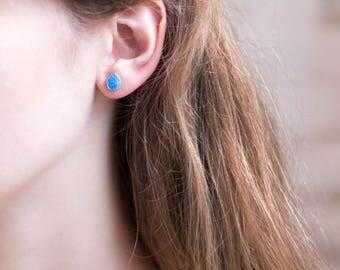 Blue Opal Earrings, Opal Stud Earrings, Sterling Silver Studs, Gift for Her, Gemstone Studs, Boho Studs, October Birthstone, Gift Ideas