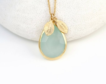 Aqua Chalcedony Necklace, March Birthstone Necklace, Personalized Initial Necklace, Stamped Jewelry, Stone Pendant, Gift for Best Friends