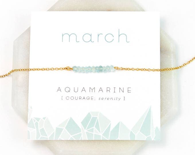 Featured listing image: March Birthstone Necklace - Inspirational Aquamarine Crystal Bar Necklace, Healing Gemstone Gift, Dainty Necklace, Birthday Present