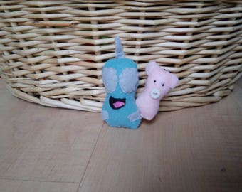 Hand Sewn Robot Gir & Piggy from Invader Zim Felt Mini Plushies