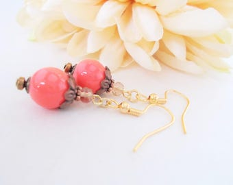 Victorian Earrings Coral Earrings Copper Anniversary Gift for Wife, Bridesmaids Gift, Boho Beaded Earrings, Pink Wedding Jewelry, Mom Gift
