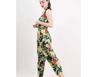 Vintage dark floral rayon jumpsuit / 1980s Karen Alexander romper / Tropical print / Harem pants / Baggy fit / Large scale floral / S