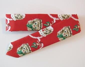 Christmas Cat Skinny Tie // Cotton & Silk Necktie
