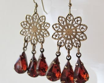 Vintage Glass Chandelier Dangle Earrings in Siam Red // Brass Earrings