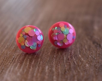 Neon pink confetti pop earrings, 12mm studs, polymer clay and resin, hypoallergenic, handmade, gift idea, made in Australia, colour pop