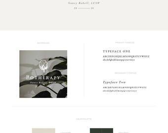 Premade Logo — Botanical Logo Set —  Floral Logo Design — Wedding Logo — Natural — Organic Shop Logo — Cosmetics Style Guide // Botherapy