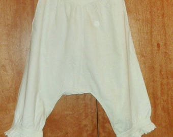 Bombacho pant of antique cotton, underwear, Vintage of the 1900s white