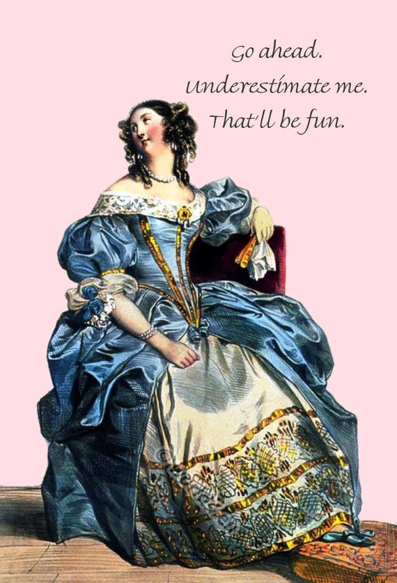 Go Ahead. Underestimate me. That'll be fun. ~ Marie Antoinette Stationery ~ Funny Postcard ~ Humor ~ Blue ~ Pink ~ Sarcasm ~ Funny Quote