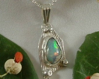 Ethiopian Fire Opal Necklace Sterling Silver Handmade Gem Statement Necklace Statement Jewelry Blue, Green, Pink Yellow Fire 774