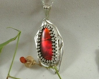 """Ammolite Necklace Sterling Silver Handmade large Utah Gem Fossil Statement Necklace Statement Jewelry 18"""" Chain Red Fire 720"""
